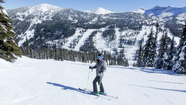 Meghan skiing